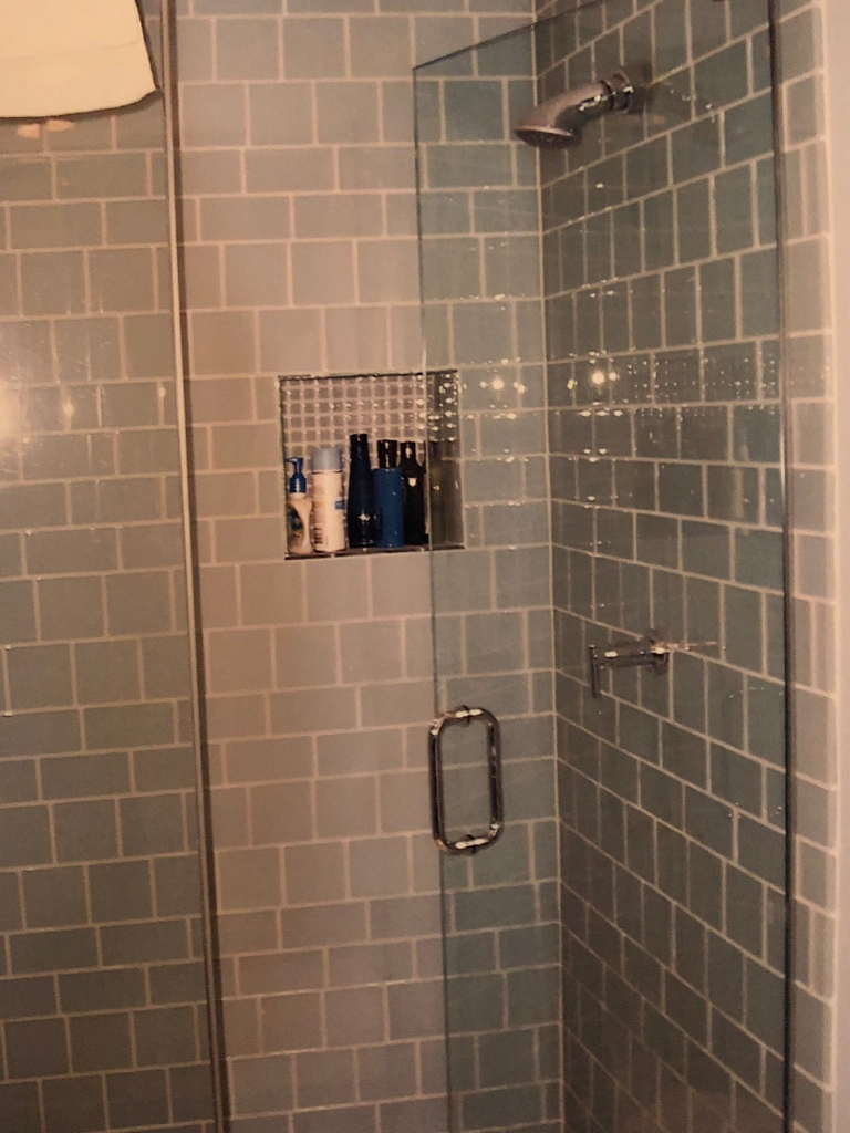 bathroom remodel blue wall tile #2