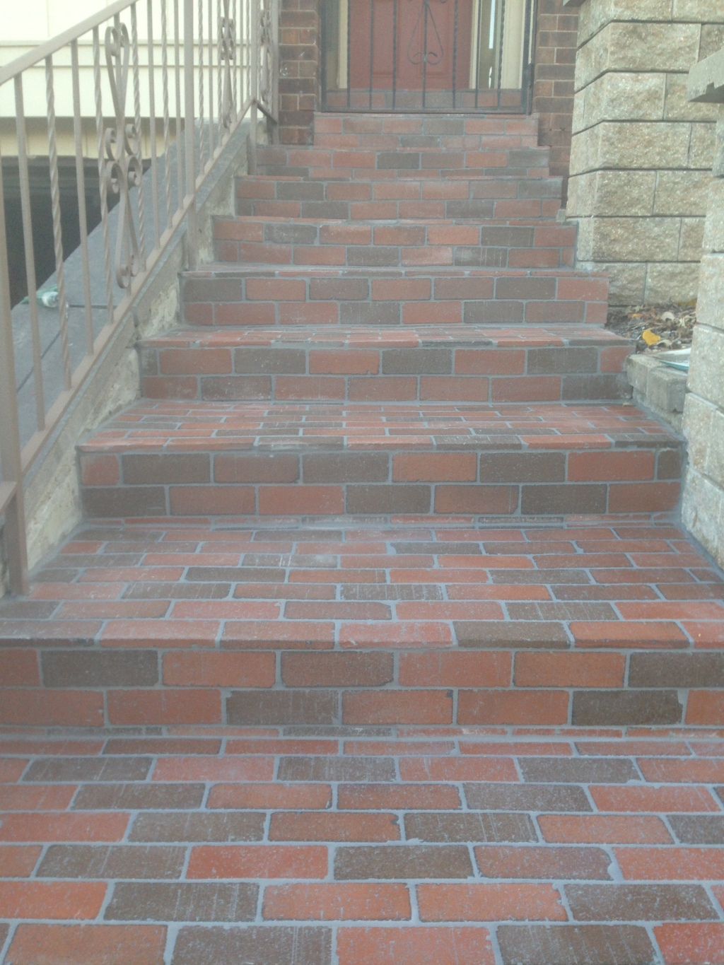 front steps with bricks